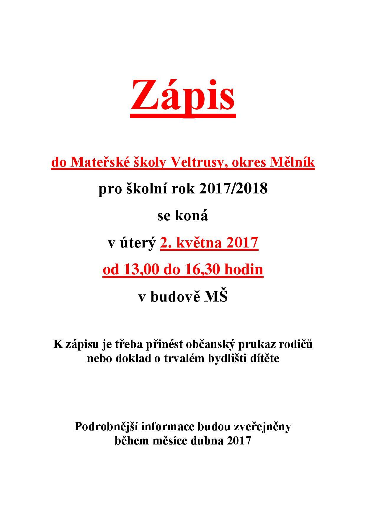 Zapis Do Materske Skoly Mesto Veltrusy